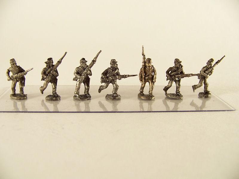 15mm ACW Infantry: ACW1 Kepi, Advancing & Charging