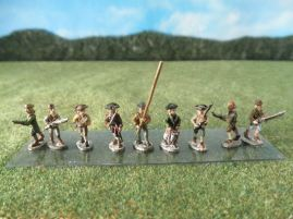 15mm AWI Infantry / Command: ARV10 Militia with Command, Advancing, Mixed Poses & Hats