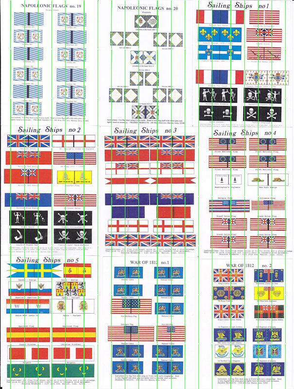 Flags: Napoleonic (NAPF19 & 20); Sailing Ships (SSF1 - SSF5); War of 1812 (WARF 1 & WARF2)
