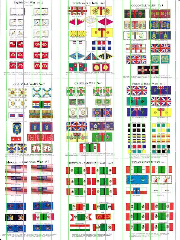 Flags: ECW (ECWF10); British Wars in India (BWIF1); Colonial Wars (COLF1 & 2); Crimean War (CRWF1); SYW (SYWF1); Mexican-American War (MEXF1 & 2); Texas Revolution (TEXF1)