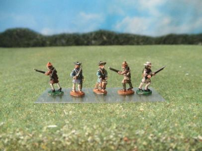 15mm AWI Infantry: ARV11 Morgan's Riflemen with Command, Advancing, Mixed Hats