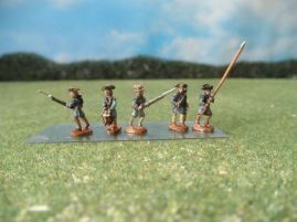 15mm AWI Infantry: ARV4 Line Infantry with Command, Advancing, in Hunting Shirts, Leggings, & Mixed Hats