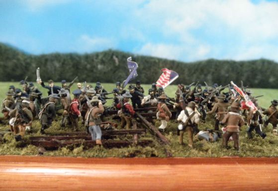 Civil War diorama using Stone Mountain Miniatures 15mm figures.