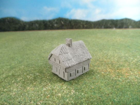 6mm European Buildings & Terrain: TRF909 Half-Timbered House with Thatched and Shingled Roof