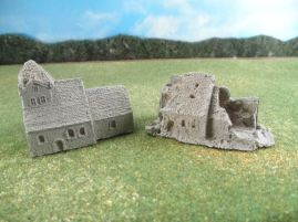 6mm European Buildings & Terrain: TRF921 Large German Stone Church / TRF925 Large Ruined Church