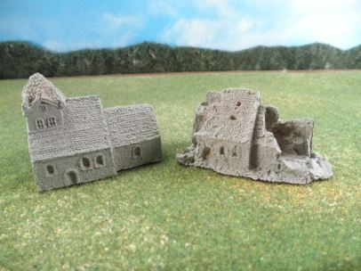 6mm European Buildings & Terrain: TRF921 Large German Stone Church / TRF925 Large Ruined Church